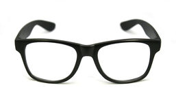 Black eye glasses isolated on white. Background royalty free stock photo
