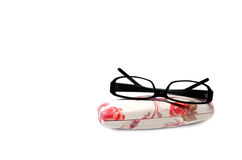 Black Eye Glasses Isolated on White. Black Eye Glasses With Case Isolated on White Background stock photo