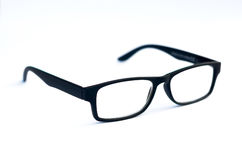 Black Eye Glasses Isolated on White shallow depth of field soft Royalty Free Stock Images