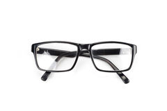 Black Eye Glasses look a bit nerd style Isolated on White Stock Images