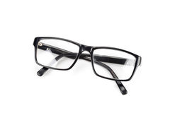 Black Eye Glasses look a bit nerd style Isolated on White Royalty Free Stock Images