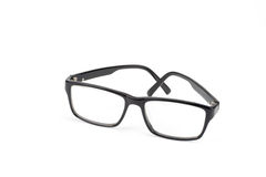 Black Eye Glasses look a bit nerd style Isolated on White. Background stock photo