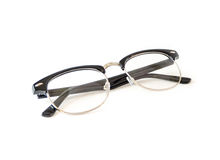 Black Eye glasses retro hipster look isolated. On white background Royalty Free Stock Photography