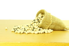 Black eye peas beans in jute bag in white background Royalty Free Stock Images