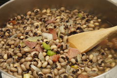 Black-eye Peas with Ham in Pot Stock Image