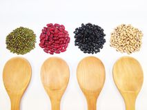 Black eye peas, mung beans, black beans and red kidney beans and stock image