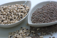 Black eyed beans and lentils Stock Photo