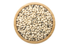 Black eyed beans Lobia in wooden bowl isolated top view Royalty Free Stock Photo