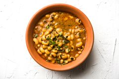 Black Eyed Kidney Beans Curry or Chawli chi usal served in a bowl, selective focus. Black Eyed Kidney Beans Curry or Chawli chi usal / Barbati masala, served in Royalty Free Stock Photo