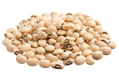 Black Eyed Pea. Pile of grains, isolated white background. Vigna unguiculata is scientific name of Black Eyed Pea legume. Also known as Goat Pea, California Stock Photography