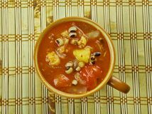 Black-Eyed Pea Soup. With Tomatoes Royalty Free Stock Image