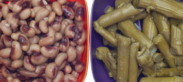 Black Eyed Peas and Asparagus Close Up Royalty Free Stock Images