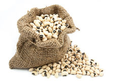 Black eyed peas beans  in canvas sack Royalty Free Stock Photos