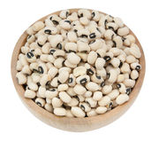 Black eyed peas beans on wood cup isolated Royalty Free Stock Photos