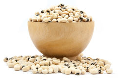 Black eyed peas beans on wood cup isolated Stock Photography