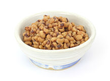 Black eyed peas in old bowl Royalty Free Stock Photos