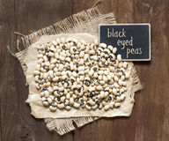 Black eyed peas with small  chalkboard Stock Photo