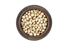 Black eyed peas in wood bowl set on isolated white. Stock Image