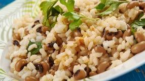 Black Eyed Peas y arroz imágenes de archivo libres de regalías