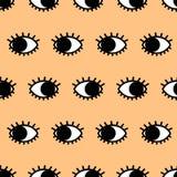 Black eyes background. Black eyes. Seamless vector pattern. Doodle style Stock Photos