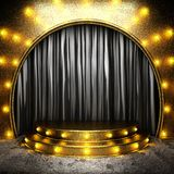 Black fabric curtain on stage Royalty Free Stock Photo