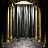 Black fabric curtain on stage Royalty Free Stock Photography