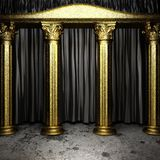 Black fabric curtain on stage Stock Images