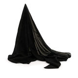 Black fabric, draped. Headscarf, veil, white background. Royalty Free Stock Photos