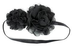 Black fabric flower with crystals Royalty Free Stock Photos