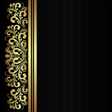 Black fabric pattern with golden floral Border. Stock Image