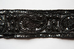 Black fabric pieces, lace, design dresses, clothing for celebrations Stock Images