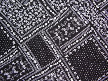 Black fabric with white print stock photo