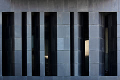 Black facade. Front windows of a black modern style building royalty free stock images