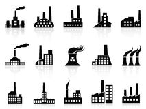 Black factory icons set. Isolated black factory icons set from white background Royalty Free Stock Photos