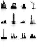 Black Factory Icons Set. Royalty Free Stock Photos