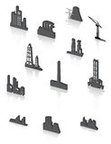 Black factory icons set. Royalty Free Stock Photos