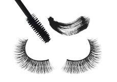 Black false eyelash and mascara isolated on white Royalty Free Stock Photo
