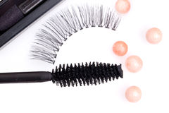 Black false eyelashes with mascara Royalty Free Stock Images