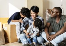 Black family moving to new house royalty free stock photo