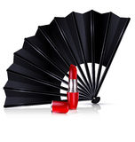 Black fan and red lipstick. White background and the black fan with red lipstick Royalty Free Stock Photos
