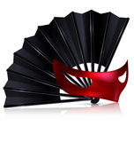 Black fan and red mask Stock Photo