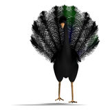 Black fantasy bird with beautiful feathers. 3D Royalty Free Stock Photo