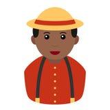 Black Farmer Avatar Flat Icon on White Royalty Free Stock Photos