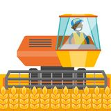 A black farmer harvests wheat. A black farmer harvests wheat on a field. A man farming with a harvester. Agriculture concept. Vector cartoon illustration Stock Photography