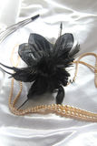 Black Fascinator And Pearls Stock Image