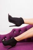 Black fashion high heel shoes Stock Photos