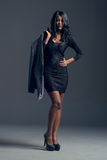 Black fashion model wearing stylish wardrobe Royalty Free Stock Photography