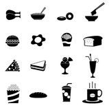 16 Black fast food icons. Vector in eps10 format Stock Photos