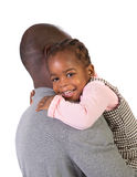 Black Father Holding Daughter on Shoulder Stock Image