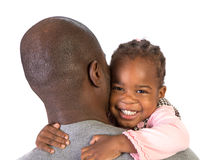 Black Father Holding Daughter on Shoulder Stock Photography